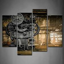 New 4 Panel Wall Art Steampunk Old Factory Industrial Print On