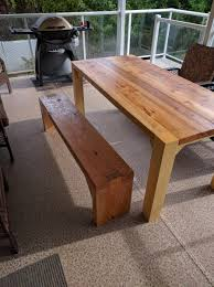 Red Cedar And Cypress Patio Table With Douglas Fir Bench