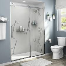 100 Marble Walls American Standard Passage 32 In X 60 In X 72 In 4Piece GlueUp Alcove Shower Wall In Powder