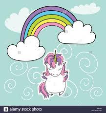 Unicorn And Rainbow Cute Vector Illustration Card Shirt Design