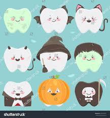 Vampire Pumpkin Designs by Happy Halloween Teeth Set Characters Zombie Stock Vector 477079345