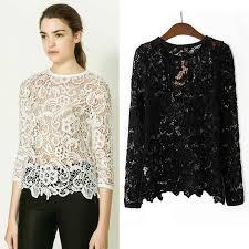 Crochet Lace Long Sleeve Shirt Blouse