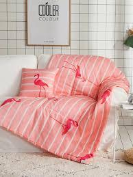 2 in 1 decke kissen mit streifen und flamingo muster 1pc