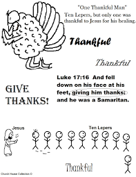 Thanksgiving Turkey One Thankful Man Ten Lepers Coloring Page New Sunday School Pages