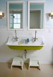 Trough Sink With Two Faucets by Trough Sink Bathroom Bathroom Farmhouse With Bath Window Bathroom