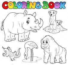 Coloring Book Zoo Animals Set 1 Stock Vector © Clairev 8444866
