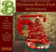 Full Mesh Red Poinsettia Decor Set Realistic Lights Matching Tree Skirt PresentsWreath Garland