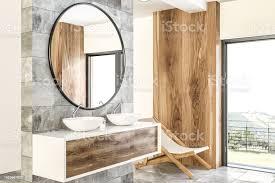 weiße doppelte badezimmer waschbecken seite ansicht marmor holz stockfoto und mehr bilder badewanne