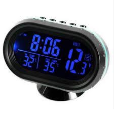 autothermometer digitaluhr dc 12v auto uhr led beleuchtet auto dual temperaturanzeige voltmeter spannungspruefer