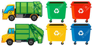 Rubbish Truck And Cans In Four Colors Illustration Royalty Free ...