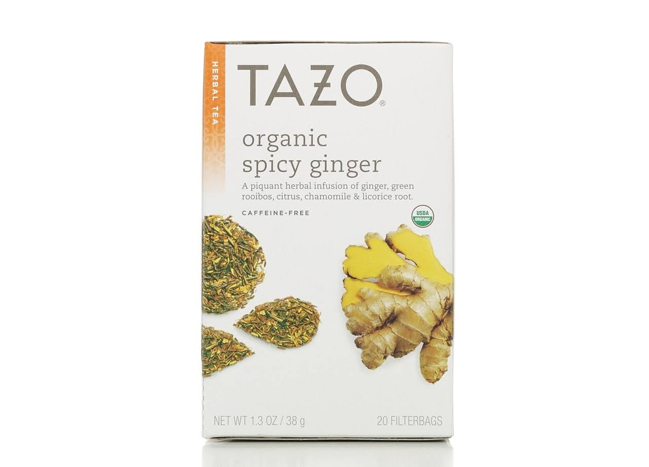 Tazo Caffeine Herbal Infusion Organic - Spicy Ginger, 20ct