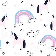 Cute Unicorns And Rainbows Seamless Pattern Baby Unicorn Wallpaper Newborn Textile Design