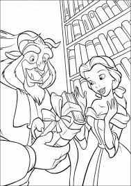Belle And Beast In Library Coloring Page