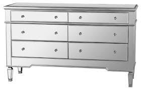 nicolette bedroom 6 drawer dresser mirrored finish contemporary
