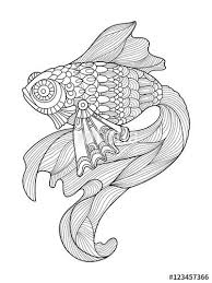 Gold Fish Coloring Page For Adults Designed By Alexander Pokusay On Fotolia