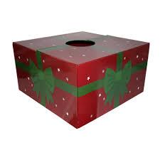 Red With Green Ribbon Original Christmas Tree Skirt Box