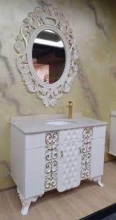 casa padrino barock badezimmer set weiß gold 1 waschtisch mit marmorplatte und keramik waschbecken 1 wandspiegel prunkvolle barock badezimmer
