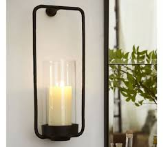 Pottery Barn Bathroom Wall Lights by Rectangular Iron Amp Glass Wall Mount Candle Sconce Pottery Barn