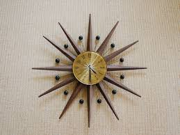 Mid Century Seth Thomas Atomic Starburst Wall Clock Modern Sunburst Mad