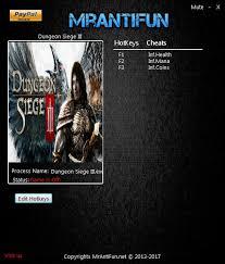 dungeon siege 3 codes dungeon siege 3 trainer 3 upd 18 03 2017 mrantifun