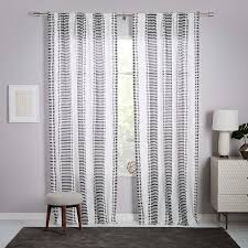 White And Gray Striped Curtains by Striped Curtains West Elm