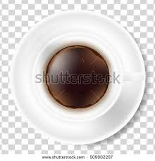 White Cup Of Black Coffee With Foam And Saucer Isolated On Transparent Background Top View