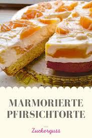 rezept für eine marmorierte pfirsichtorte