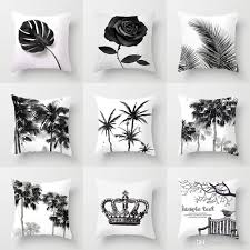 Black And White Palm Tree Crown Rose Flower Pineapple Cushion Covers Modern  Decor Pillow Cases 44X44cm Sofa Chair Deocr 24 Inch Outdoor Cushions ...