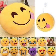 6 Inch Smiley Face Emoji Pillows Soft Plush Emoticon Round Cushion