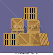 Vector Flat Design Cartoon Stacked Wooden Containers And Crates Isolated