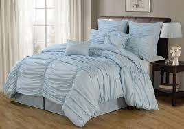 Adorable Mirimar 4 Piece Pale Light Blue Duvet Sets with Ruched