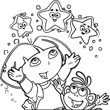 Dora Coloring Pages Explorer Stars
