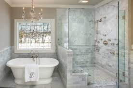 Inspiration For A Timeless White Tile And Marble Bathroom Remodel In Columbus With Gray Walls