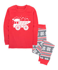 100 Red Dump Truck Nap Chat Family Gray Fair Isle Christmas Pajama Set