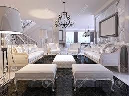 luxus weiß wohnzimmer mit weißen möbeln und schwarzen marmorboden zwei klassische sofa und stühle mit sitzbänken zwei große stehle 3d