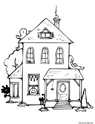 coloriage maison hantee avec fantomes dessin