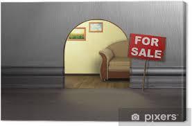 leinwandbild maus loch in der wand mit zeichen zu verkaufen haus verkauf konzept