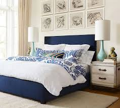 Pottery Barn Seagrass Headboard by Add A Pop Of Color To Accent Your Classic White Duvet Cover And