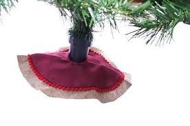 Mini Miniature Christmas Tree Skirt Country Farm Burlap Red NEW 12 Satin