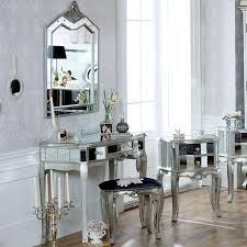 Tiffany Range Mirrored 3 Drawer Dressing Table Stool and Mirror