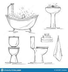 bathroom interior elements toilet and washbasin