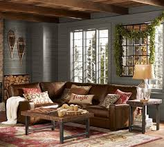 turner square arm leather 3 piece sectional with corner pottery barn