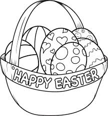 Happy Easter Basket Coloring Sheets For Kids