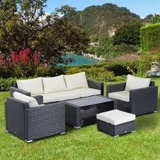 Outsunny Patio Furniture Cushions by Outsunny Garden Rattan 2 Seater Companion Bench W Cushions Patio
