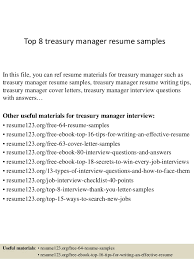 Top 8 Treasury Manager Resume Samples In This File You Can Ref Materials For
