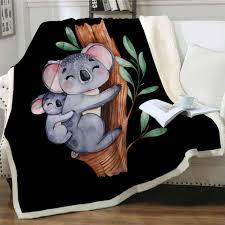 neue koala familie decke plüsch decke eukalyptus baum blatt flauschigen decke aquarell tier mode decke