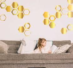 goldene bienen waben wandtattoo