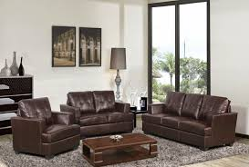 Furniture Enchanting Brown Leather Couch Loveseat And Chair Set