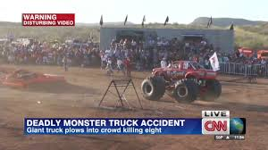 Monster Truck Crash Kills 8 Spectators - CNN Video Monster Jam Hits Salinas Kion Truck Easily Runs Over Pile Of Junk Cars Bigfoot Stock Video Game Mud Challenge With Hot Wheels Truck Warning Drivers Ahead Trucks Visit Thornton Public The Maitland Mercury Video Raminator Monster Revs Up Crowd At Bob Brady Auto Crush It Nintendo Switch Games Destruction Police 3d For Kids Educational Destroyer Children Running Ripping Redcat Racings Landslide Xte Dennis Anderson Recovering After Scary Crash In The Grave Digger