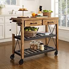 Crosley Roots Rack Industrial Kitchen Cart in Natural CF3008 NA